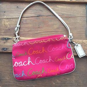 Fuchsia Pink Coach Wristlet Silver Leather Trim